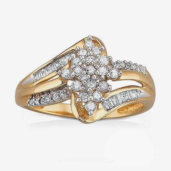 1/3 CT. T.W. Diamond 10K Gold Cluster Ring