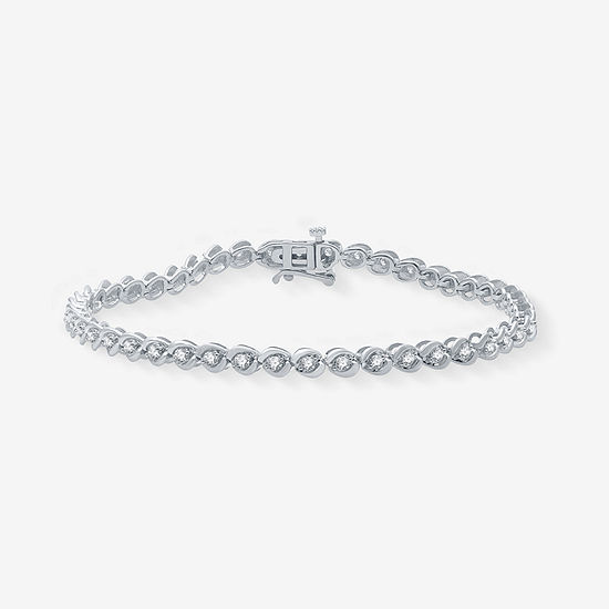 1 CT. T.W. Genuine White Diamond 10K White Gold 7.5 Inch Tennis Bracelet