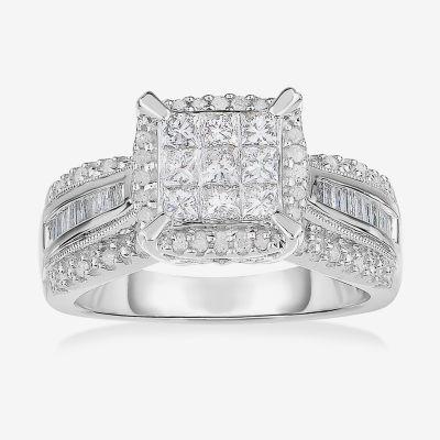1 CT. T.W. Genuine Diamond 10K White Gold Princess-Cut Multi-Top Ring