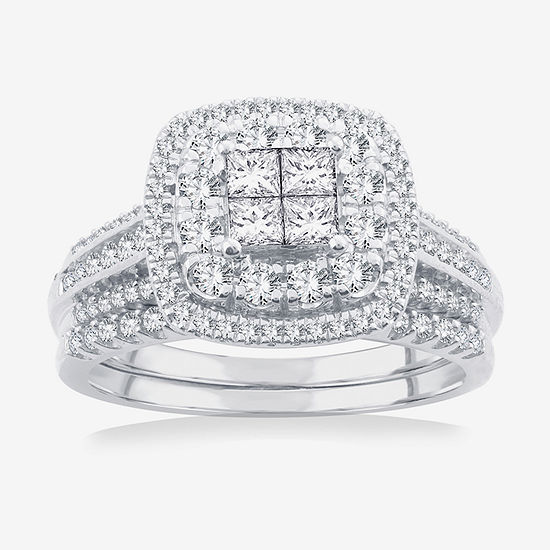 Limited Edition! Womens 1 CT. T.W. Genuine White Diamond 10K White Gold Bridal Set
