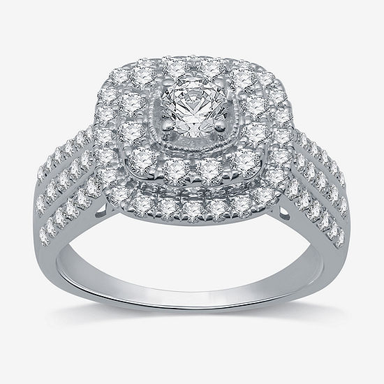LIMITED EDITION! Womens 1 1/4 CT. T.W. Genuine White Diamond 10K White Gold Halo Engagement Ring