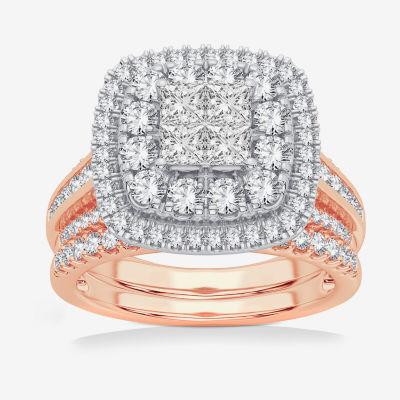 Limited Edition! Womens 1 CT. T.W. Genuine White Diamond 10K Rose Gold Bridal Set