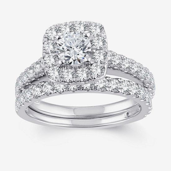 Womens 2 CT. T.W. Genuine White Diamond 10K White Gold Halo Bridal Set