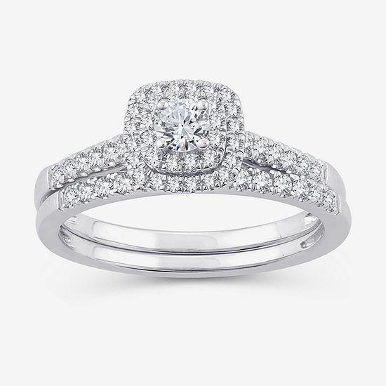 Womens 1/2 CT. T.W. Genuine White Diamond 10K White Gold Bridal Set