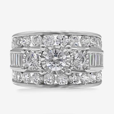 Womens 4 CT. T.W. Genuine White Diamond 10K Gold Engagement Ring