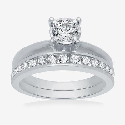 Womens 1 CT. T.W. Genuine Diamond 10K White Gold Solitaire Bridal Set