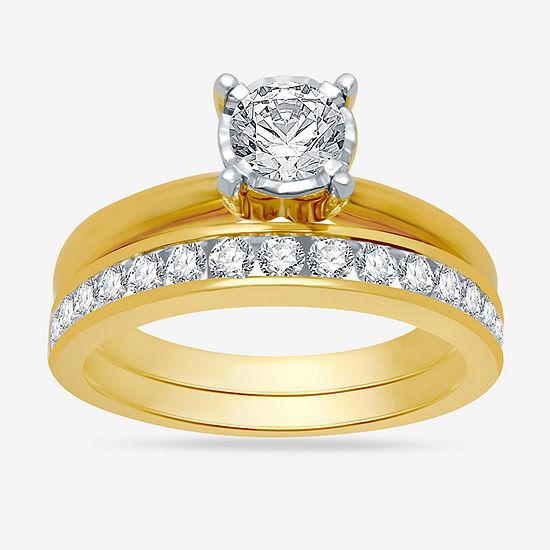 Womens 1 CT. T.W. Genuine White Diamond 10K Gold Solitaire Bridal Set