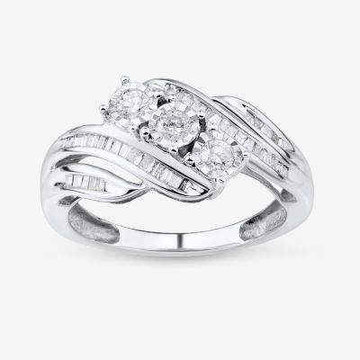 Love Lives Forever 1/2 CT. T.W. Round White Genuine Diamond 10K Gold 3-Stone Ring