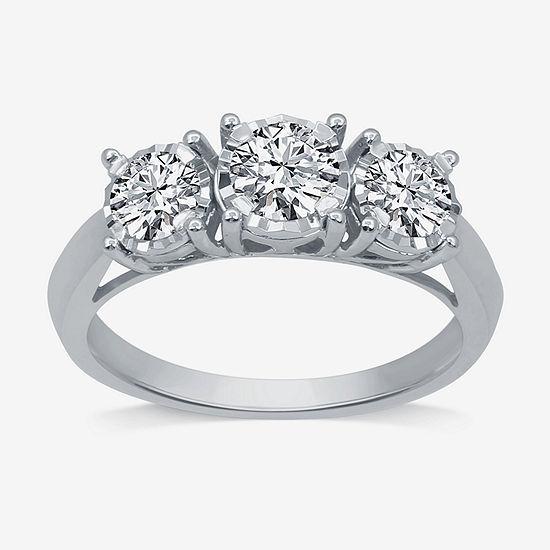 Womens 1 CT. T.W. Genuine White Diamond 10K White Gold 3-Stone Engagement Ring