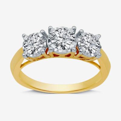 Womens 1 CT. T.W. Genuine White Diamond 10K Gold 3-Stone Engagement Ring