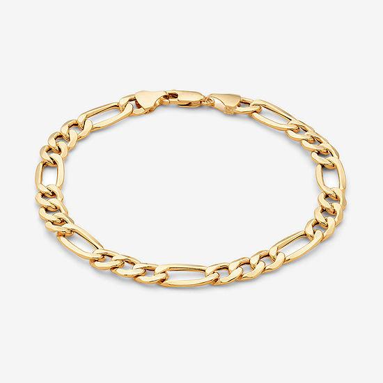 "Made in Italy Mens 10K Gold 6.7mm 8.5"" Hollow Figaro Bracelet"