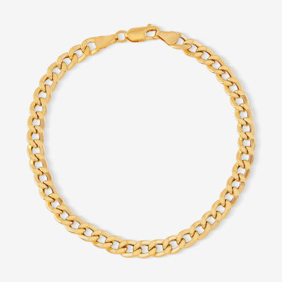 "Mens 10K Gold 8.5"" 6mm Semi-Solid Curb Bracelet"