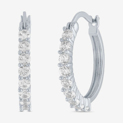 LIMITED TIME SPECIAL! Lab Created White Sapphire 20mm Hoop Earrings in  Sterling Silver