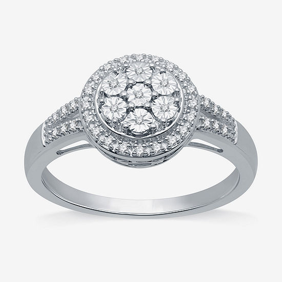 LIMITED TIME SPECIAL! 1/10 CT. T.W. Genuine Diamond Cluster Cocktail Ring in Sterling Silver