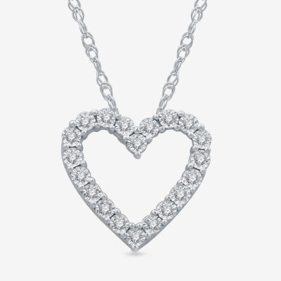 LIMITED TIME SPECIAL! Womens 1/10 CT. T.W. Genuine Diamond Sterling Silver Heart Pendant Necklace