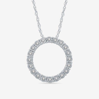 LIMITED TIME SPECIAL! Womens 1/10 CT. T.W. Genuine Diamond Sterling Silver Pendant Necklace