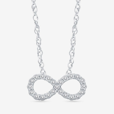 LIMITED TIME SPECIAL! Womens 1/10 CT. T.W. Genuine Diamond Sterling Silver Infinity Pendant Necklace