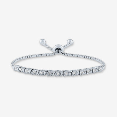 Limited Time Special! 1/10 CT. T.W. Genuine Diamond Sterling Silver Bolo Bracelet