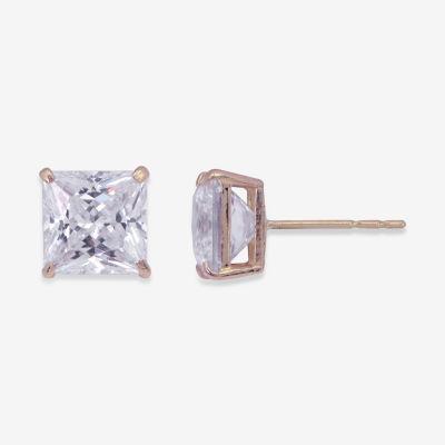 Princess-Cut Cubic Zirconia 10K Gold Stud Earrings
