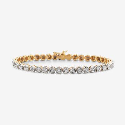 1/2 CT. T.W. Diamond 14K Yellow Gold over Sterling Silver Tennis Bracelet