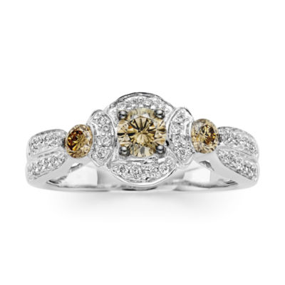 LIMITED QUANTITIES LeVian Grand Sample Sale Chocolatier® 5/8 CT. T.W. White and Chocolate Diamond® 3-Stone Ring