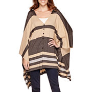 Stylus™ Striped Poncho Sweater - Tall