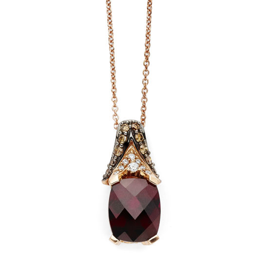 LIMITED QUANTITIES Grand Sample Sale™ by Le Vian® Raspberry Rhodolite® and 1/3 CT. T.W. Vanilla Diamonds® & Chocolate Diamonds® 14K Strawberry Gold® Le Vian Chocolatier® Pendant Necklace