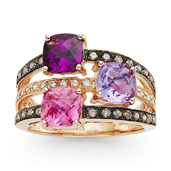 LIMITED QUANTITIES Le Vian Grand Sample Sale™ Passion Fruit Tourmaline™, Raspberry Rhodolite®, Grape Amethyst™, Chocolate Diamonds®, & Vanilla Diamonds® Three Stone Ring in 14K Strawberry Gold®