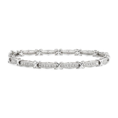 1 CT. T.W. Diamond 10K White Gold X-Link Bracelet