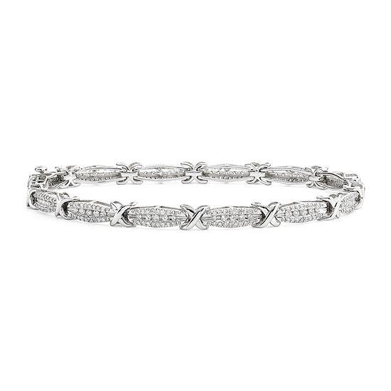 T W Diamond 10k White Gold X Link Bracelet