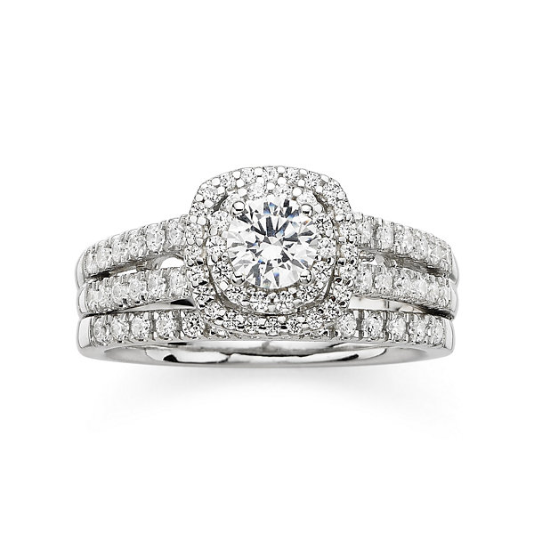 T.W. Diamond 14K White Gold Bridal Ring Set