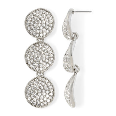 Natasha Crystal Disk Drop Earrings