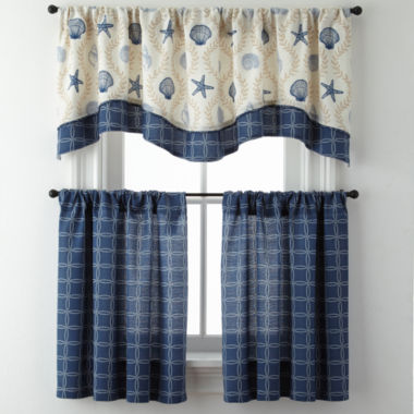 jcpenney.com | Sea Scroll Lattice or Rope Lattice Rod-Pocket Kitchen Curtains
