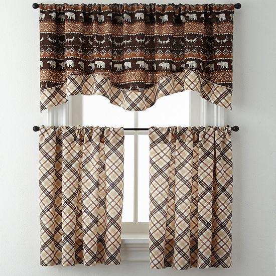 Bear Trail or Cabin Plaid Rod-Pocket Kitchen Curtains