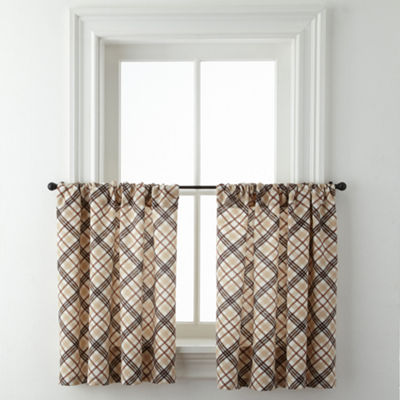 Cabin Plaid Rod-Pocket Window Tiers