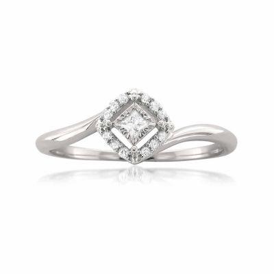 Promise My Love Womens 1/10 CT. T.W. White Diamond 10K Gold Promise Ring
