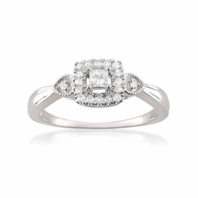 Promise My Love Womens 1/4 CT. T.W. White Diamond 10K Gold Promise Ring