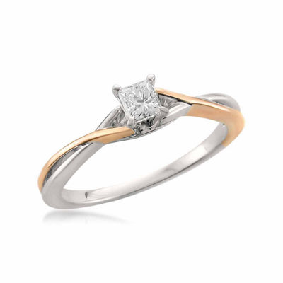 Promise My Love Womens 1/4 CT. T.W. White Diamond 14K Gold Promise Ring