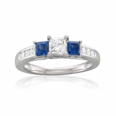 Womens 1 CT. T.W. Princess Diamond 14K Gold 3-Stone Ring