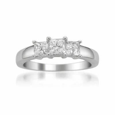 Womens 1 CT. T.W. Princess Diamond Platinum 3-Stone Ring