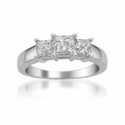 Womens 1 1/2 CT. T.W. Diamond 14K Gold 3-Stone Engagement Ring