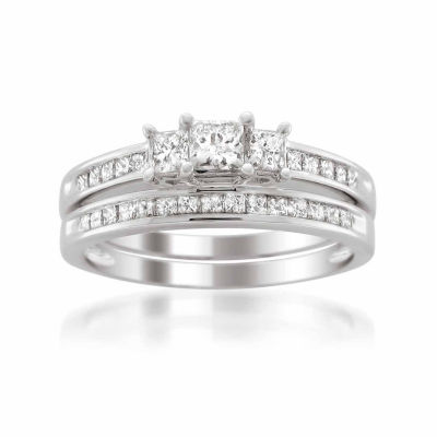 Womens 1 CT. T.W. White Diamond Platinum Bridal Set