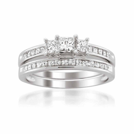 Womens 1 CT. T.W. Genuine White Diamond Platinum Bridal Set
