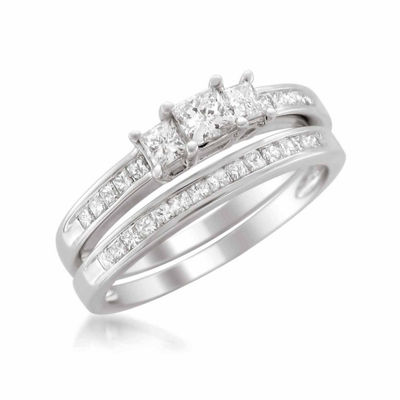 Womens 1 1/2 CT. T.W. White Diamond Platinum Bridal Set