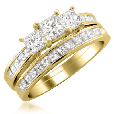 Womens 2 CT. T.W. White Diamond 14K Gold Bridal Set
