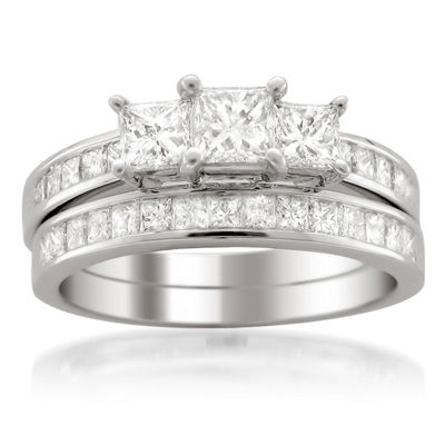 Womens 2 CT. T.W. White Diamond Platinum Bridal Set