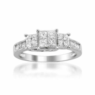 Womens 1 CT. T.W. White Diamond 14K Gold 3-Stone Engagement Ring
