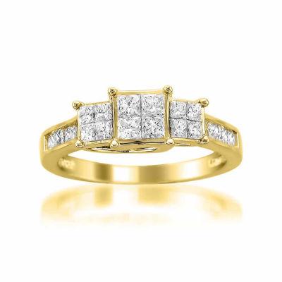Womens 1 CT. T.W. White Diamond 14K Gold 3-Stone Ring