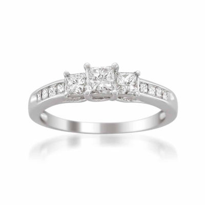 Womens 1 CT. T.W. White Diamond Platinum 3-Stone Engagement Ring
