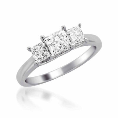 Womens 1 CT. T.W. White Diamond 14K Gold 3-Stone Engagement Ring